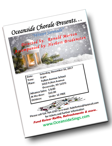 Holiday 2017 Singing Concert Oceanside Long Island NY 2017 Program -  The Oceanside Chorale Singing Oceanside NY